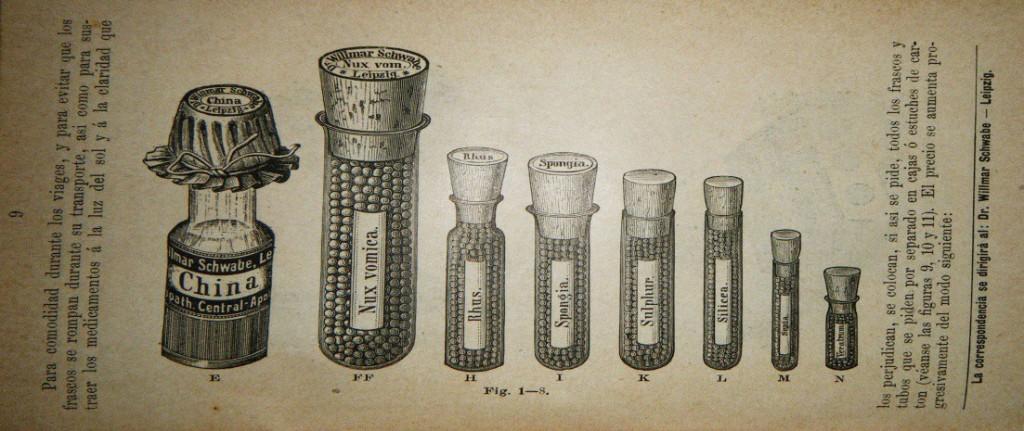 Remedios homeopáticos en gránulos de 1887.